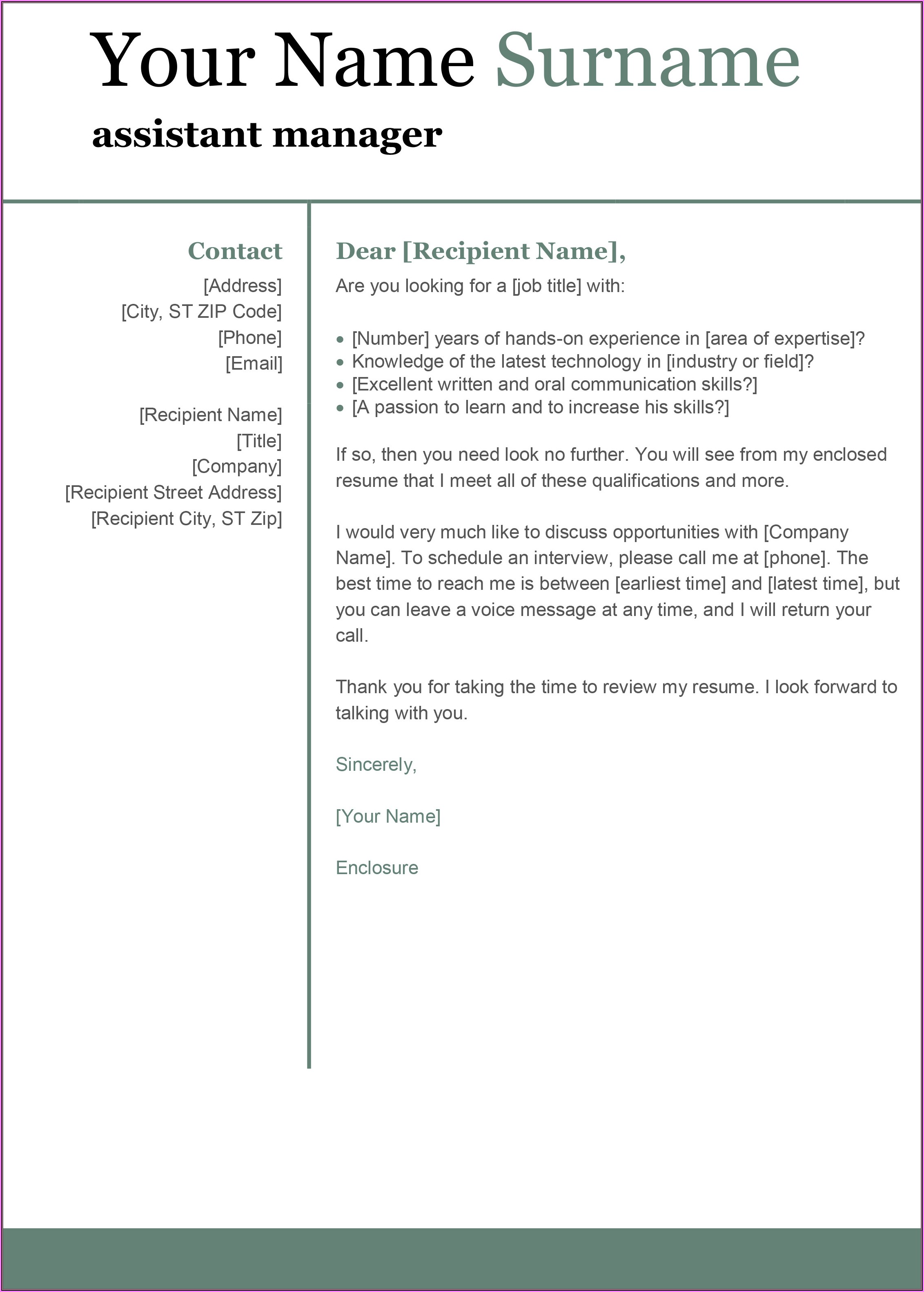 Free Cover Letter Templates Download