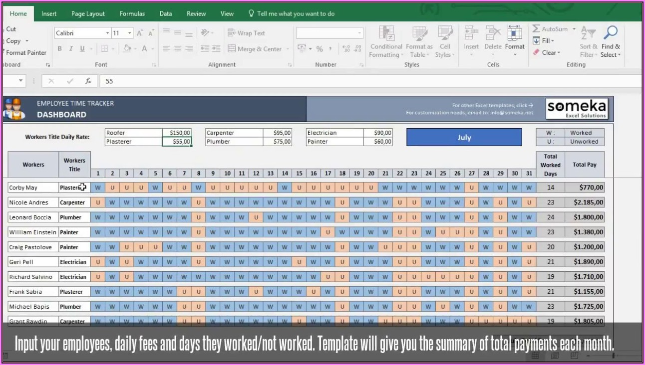 Free Download Excel Timesheet Template
