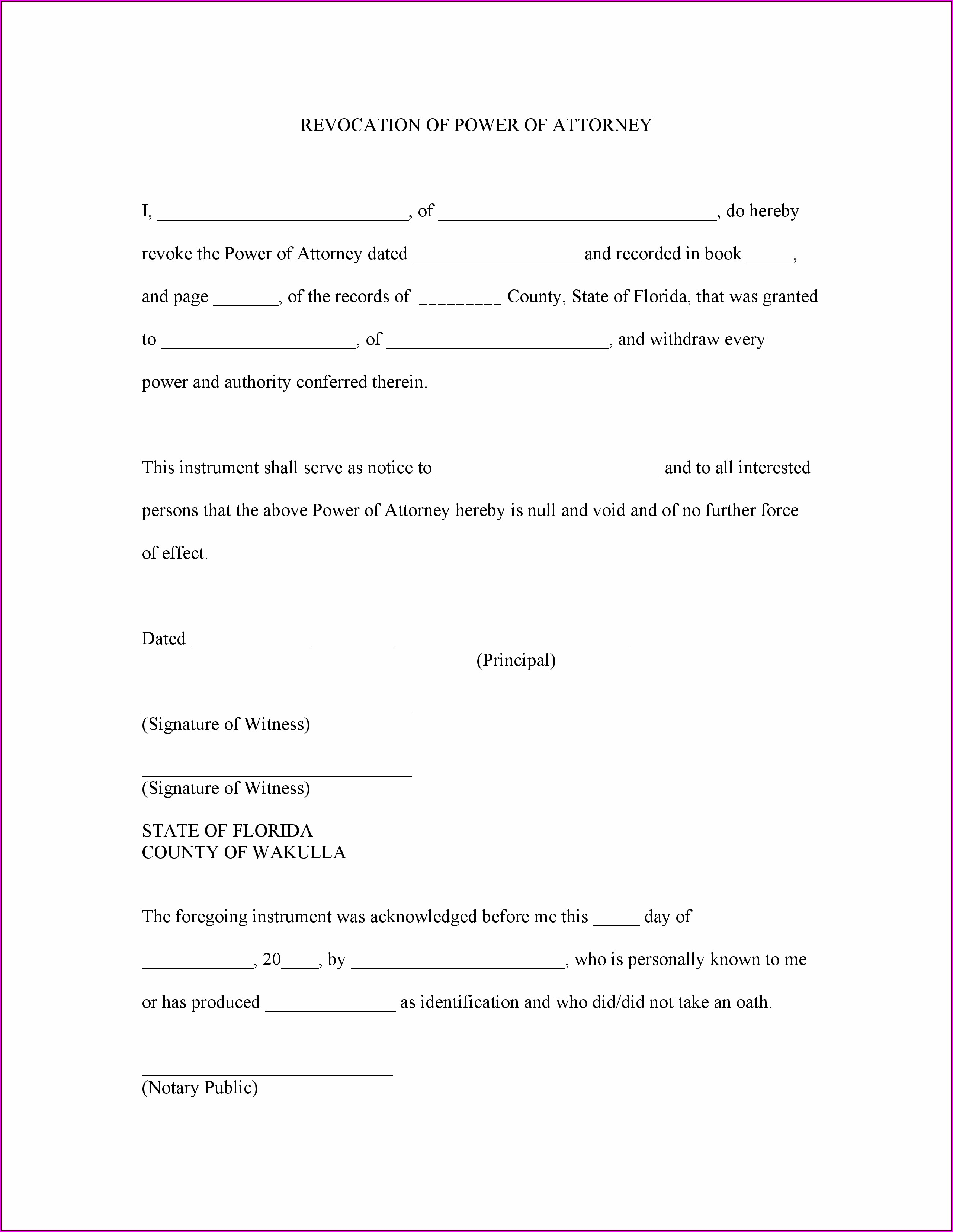 Free Durable Power Of Attorney For Health Care Form Florida