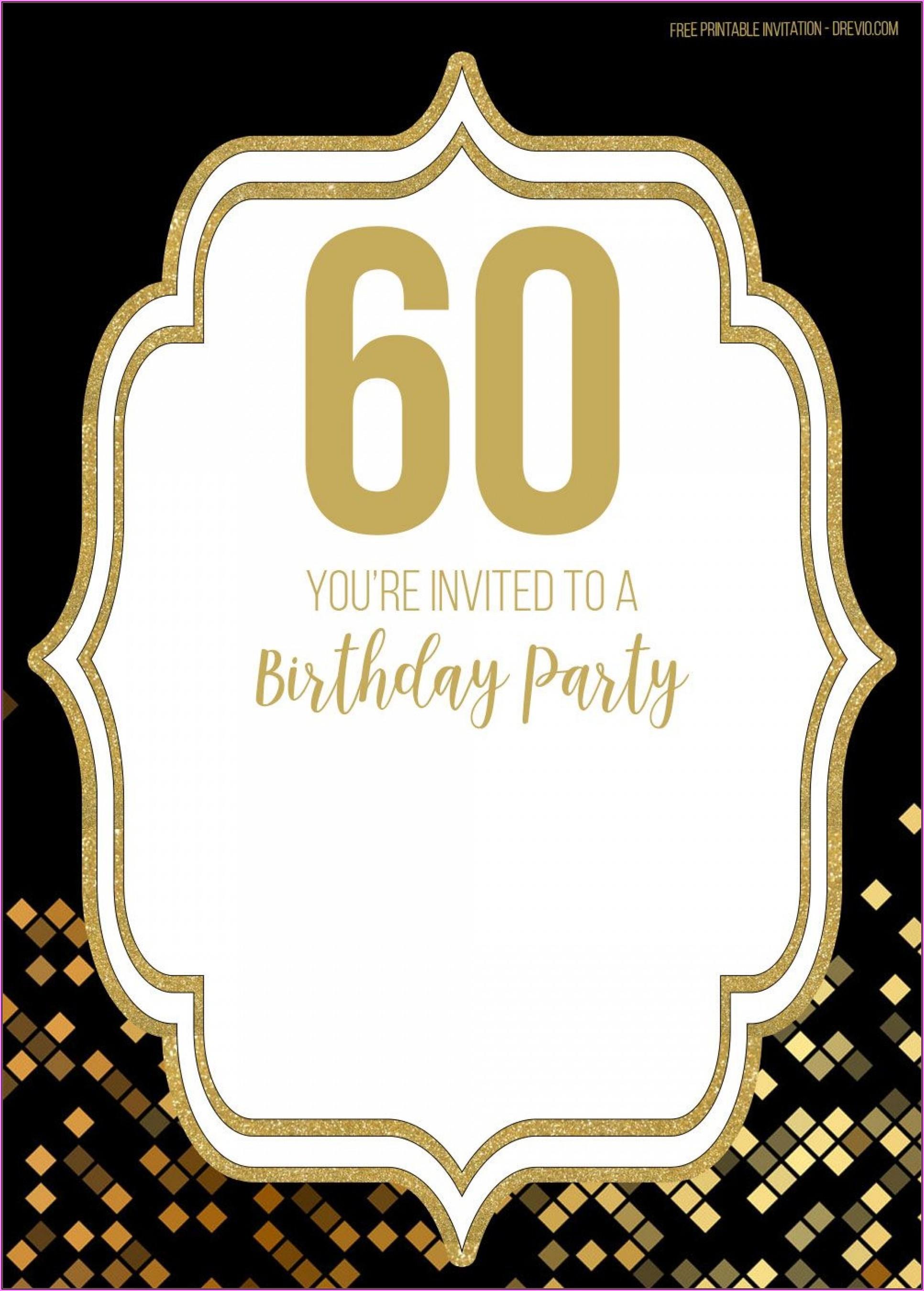 Free Editable 60th Birthday Invitations Templates