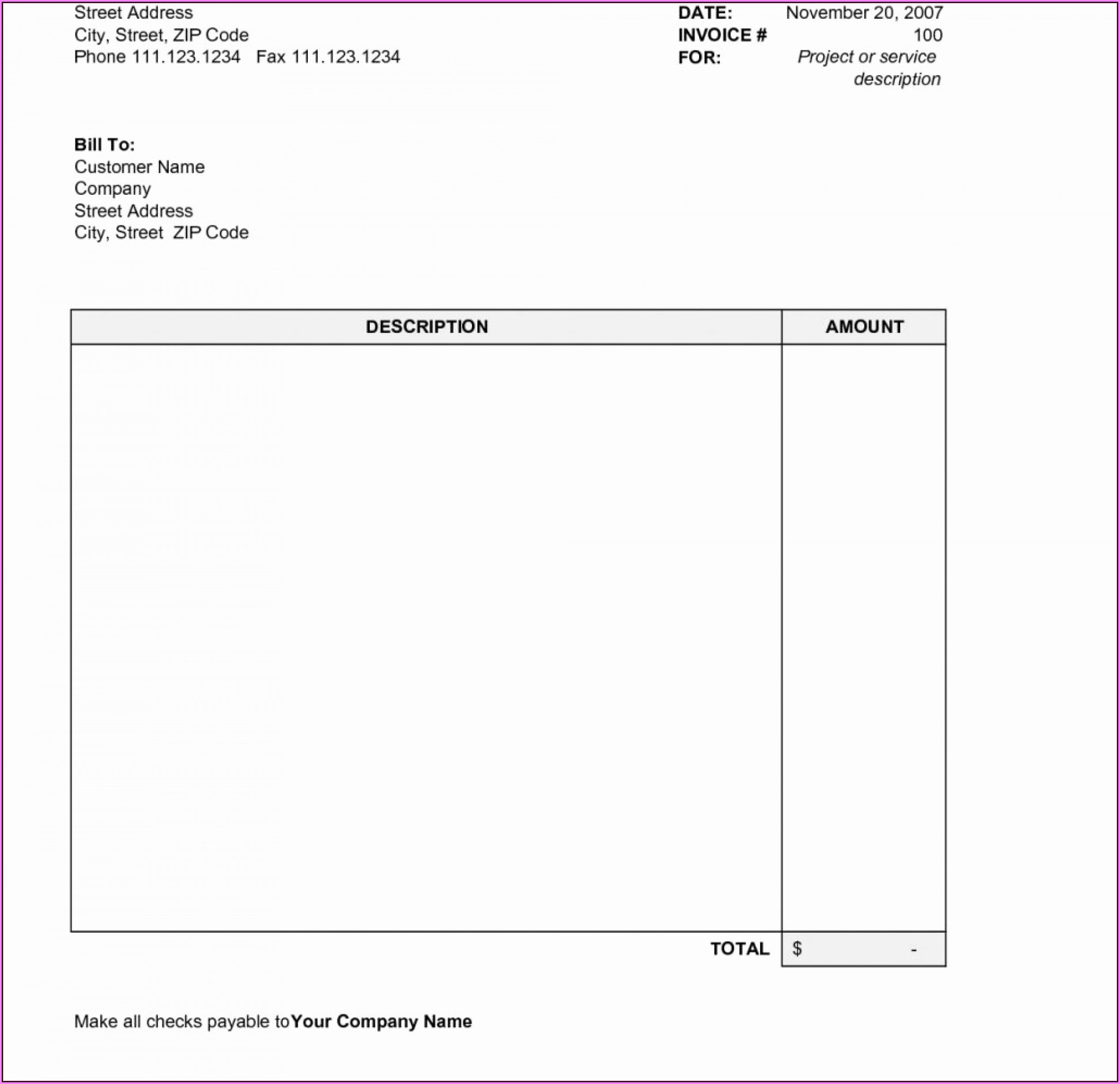 Free Editable Invoice Template Pdf Uk