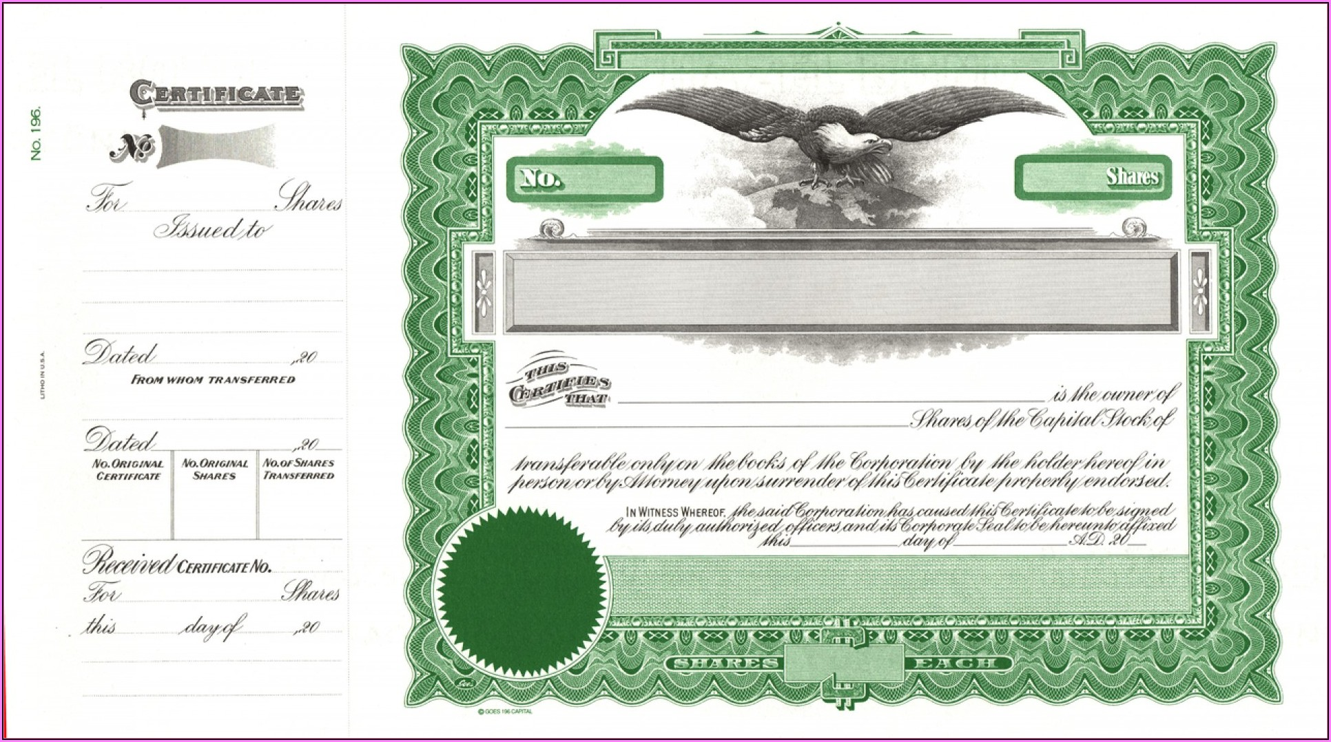 Free Editable Stock Certificate Template