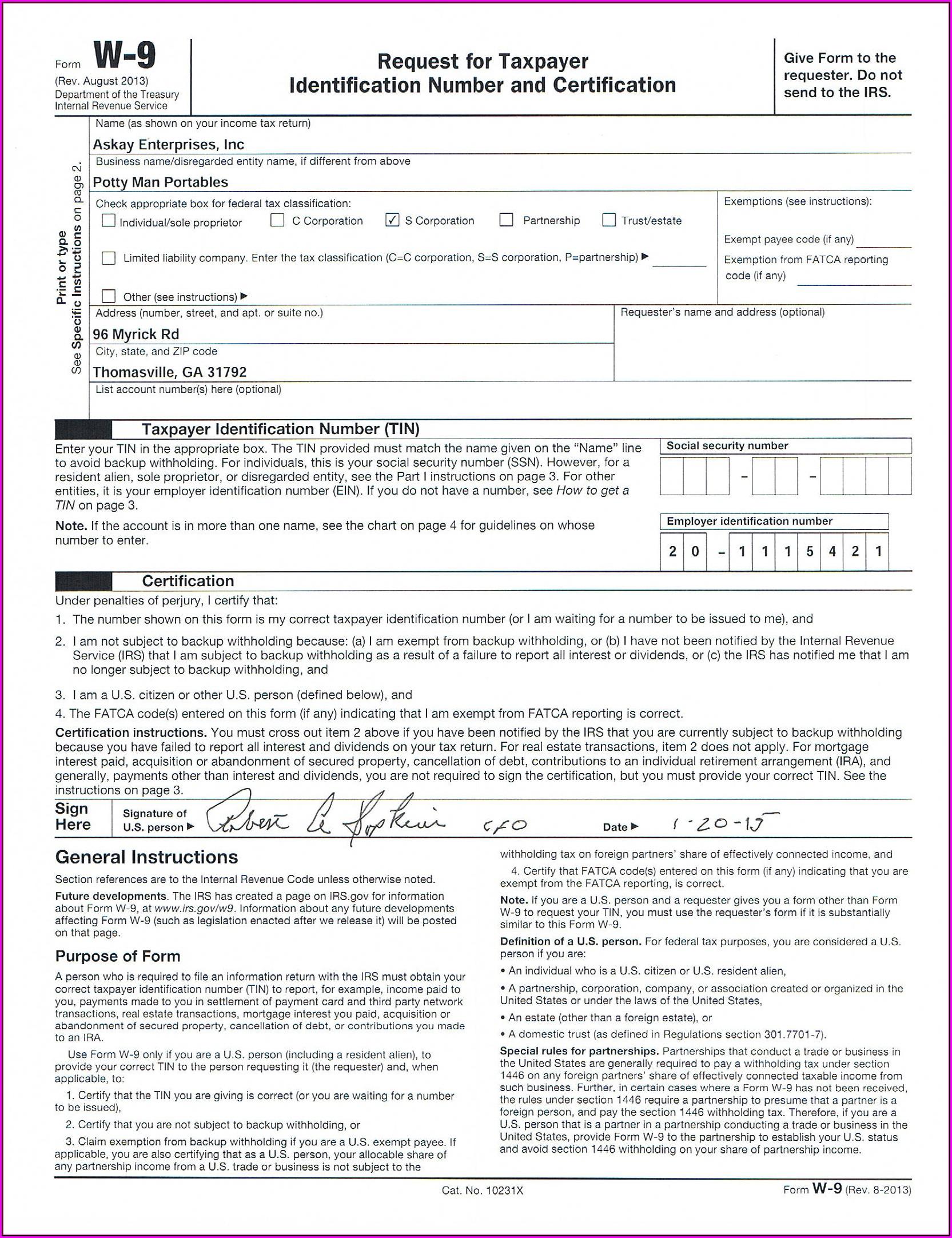 Free Editable W 9 Form