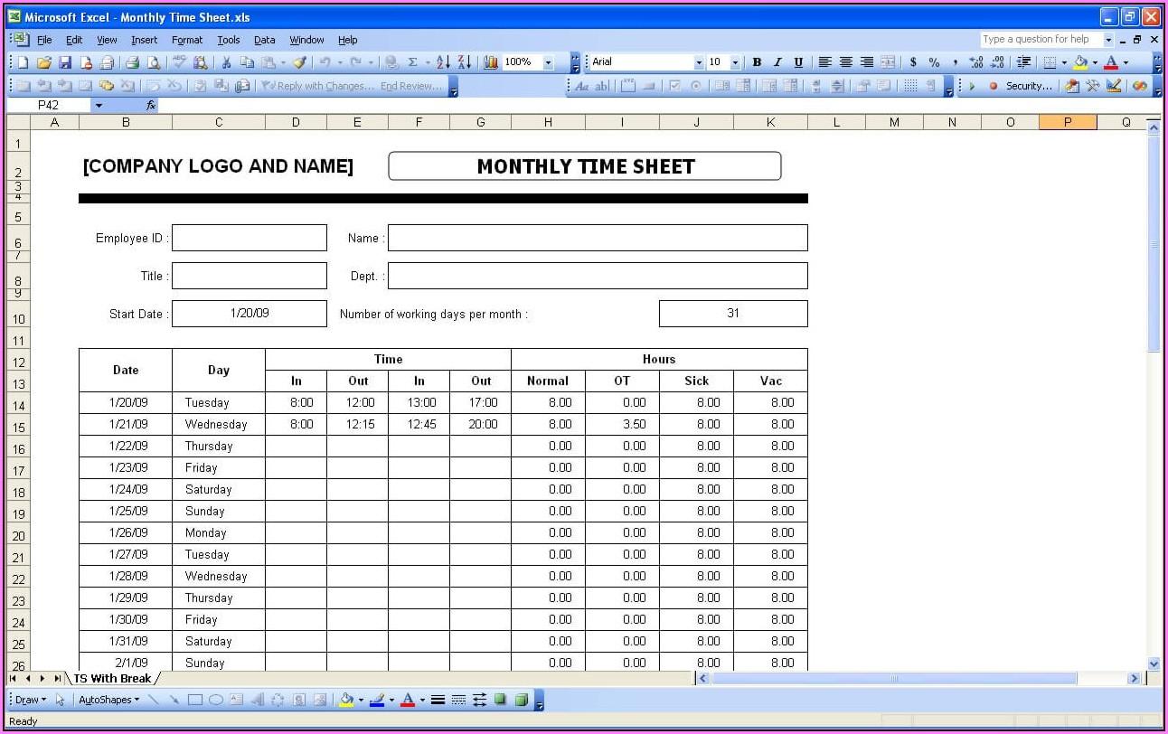 Free Excel Timesheet Template Uk
