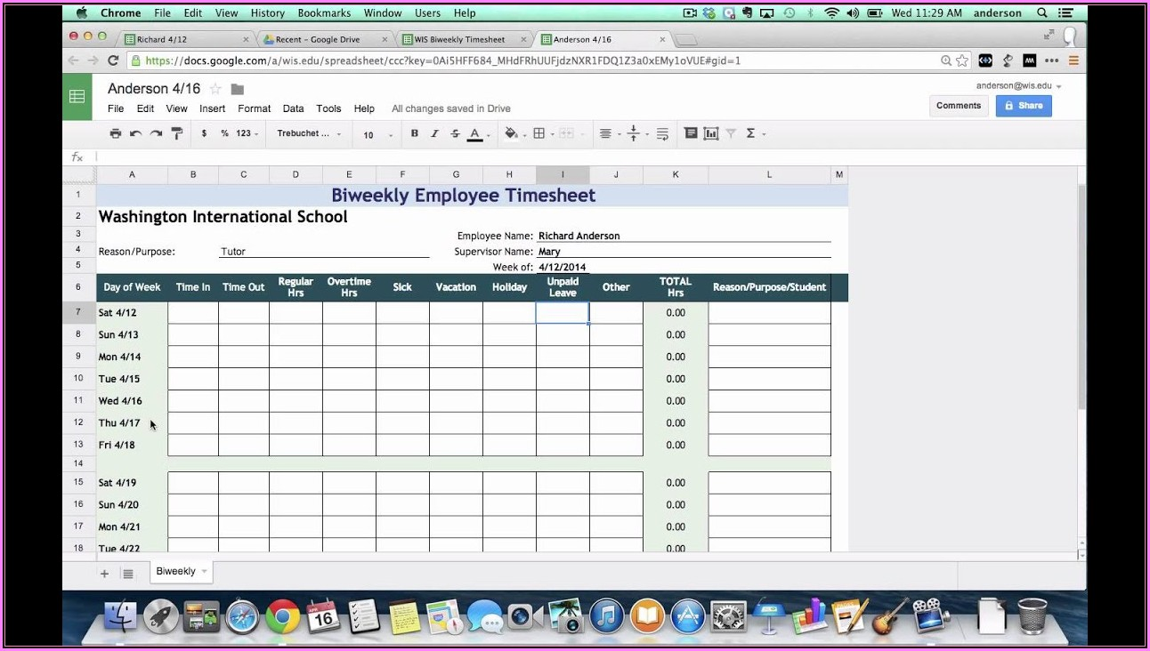 Free Excel Timesheet Template With Formulas