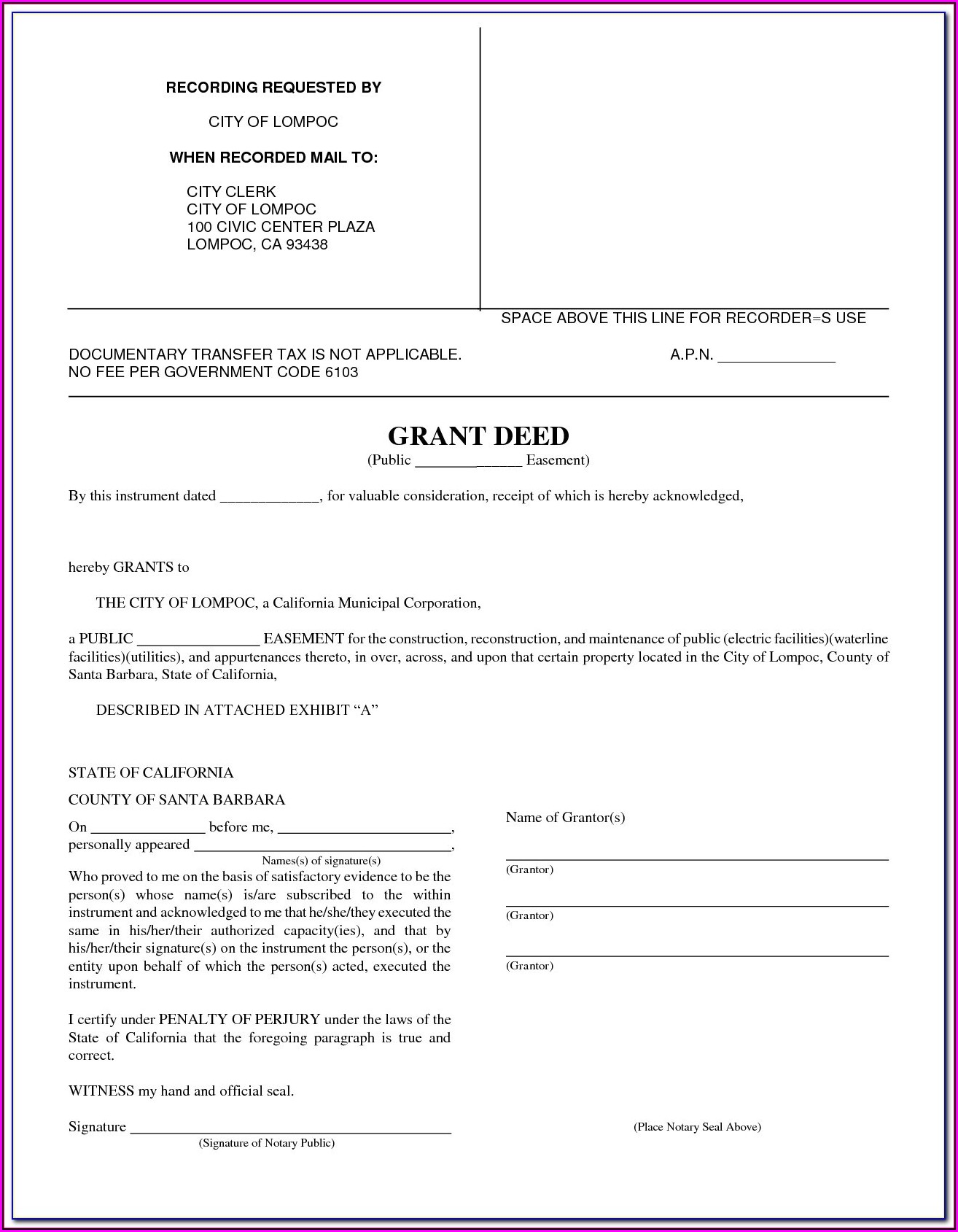 Free Fillable California Grant Deed Form
