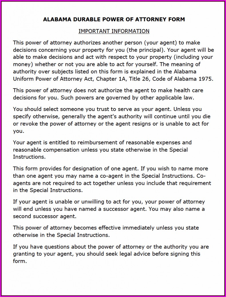 Free Florida Durable Power Of Attorney Form 2019