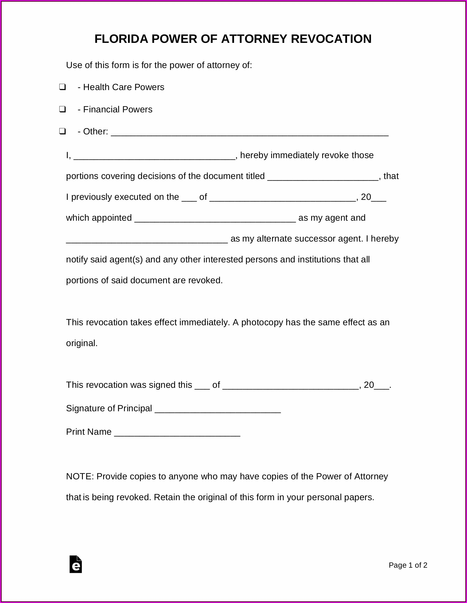 Free Florida Power Of Attorney Form Pdf