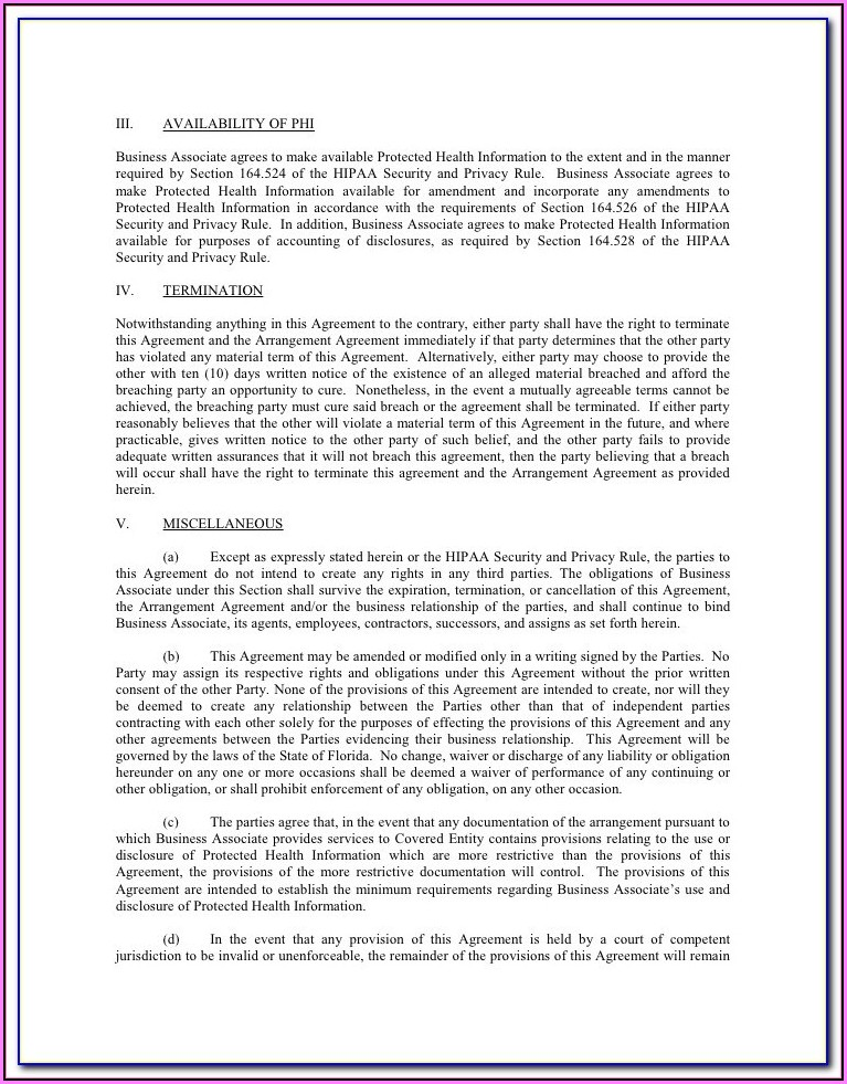 Free Hipaa Business Associate Agreement Template 2018