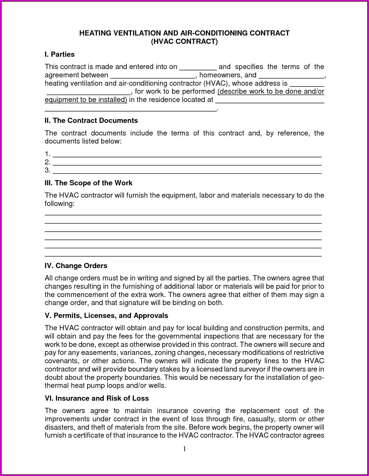 Free Hvac Preventive Maintenance Agreement Template