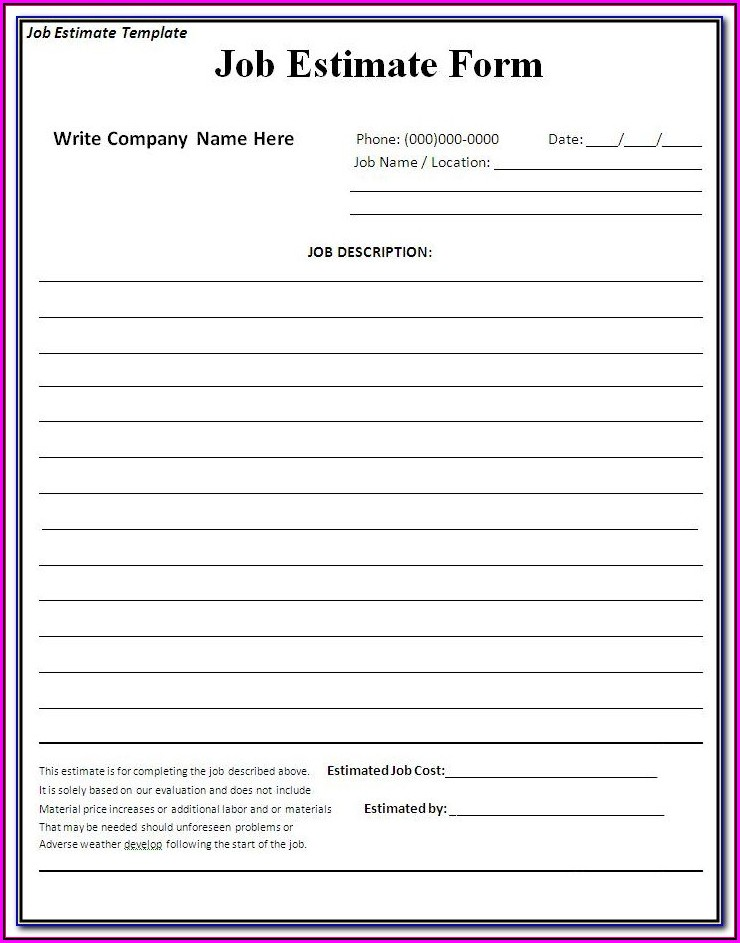 Free Job Estimate Forms To Print
