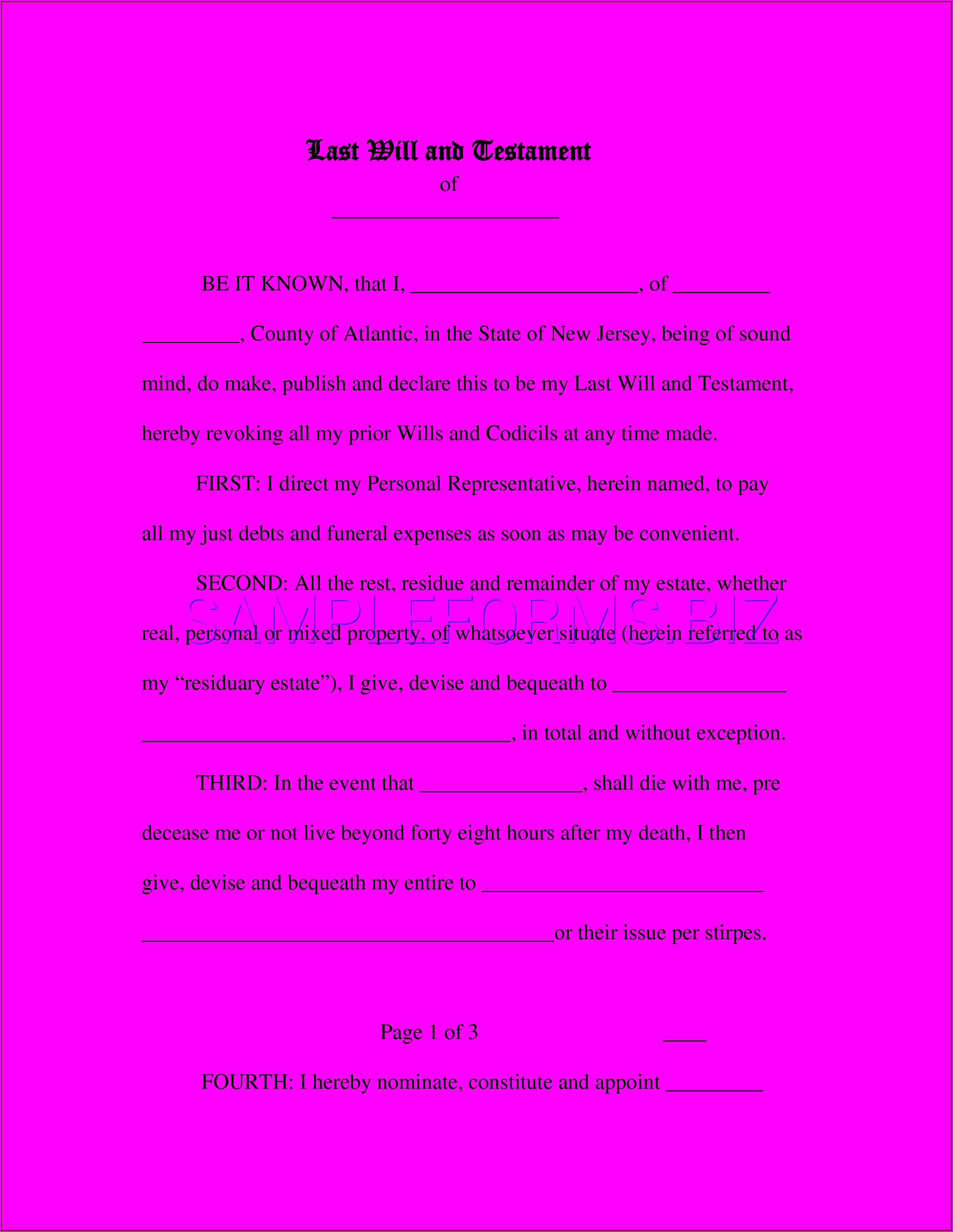 Free Last Will And Testament Form Template Nj