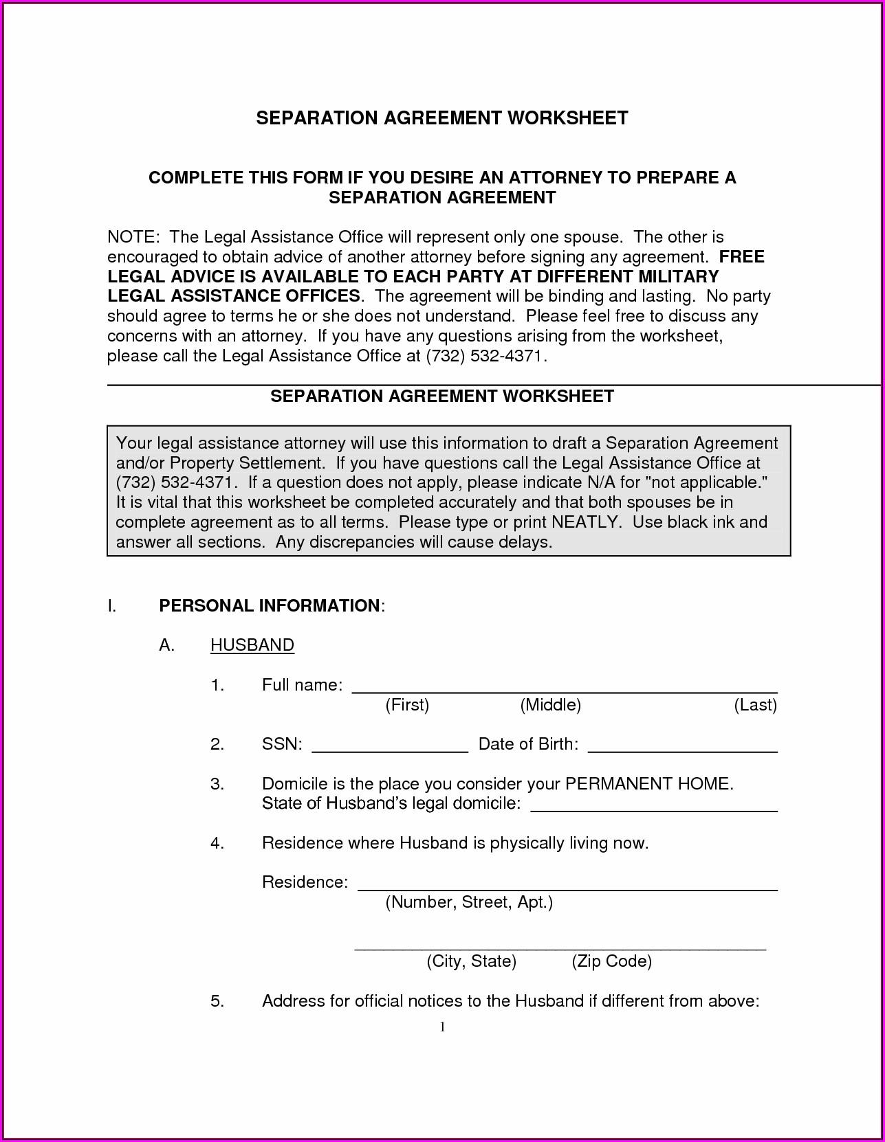 Free Legal Separation Forms North Carolina