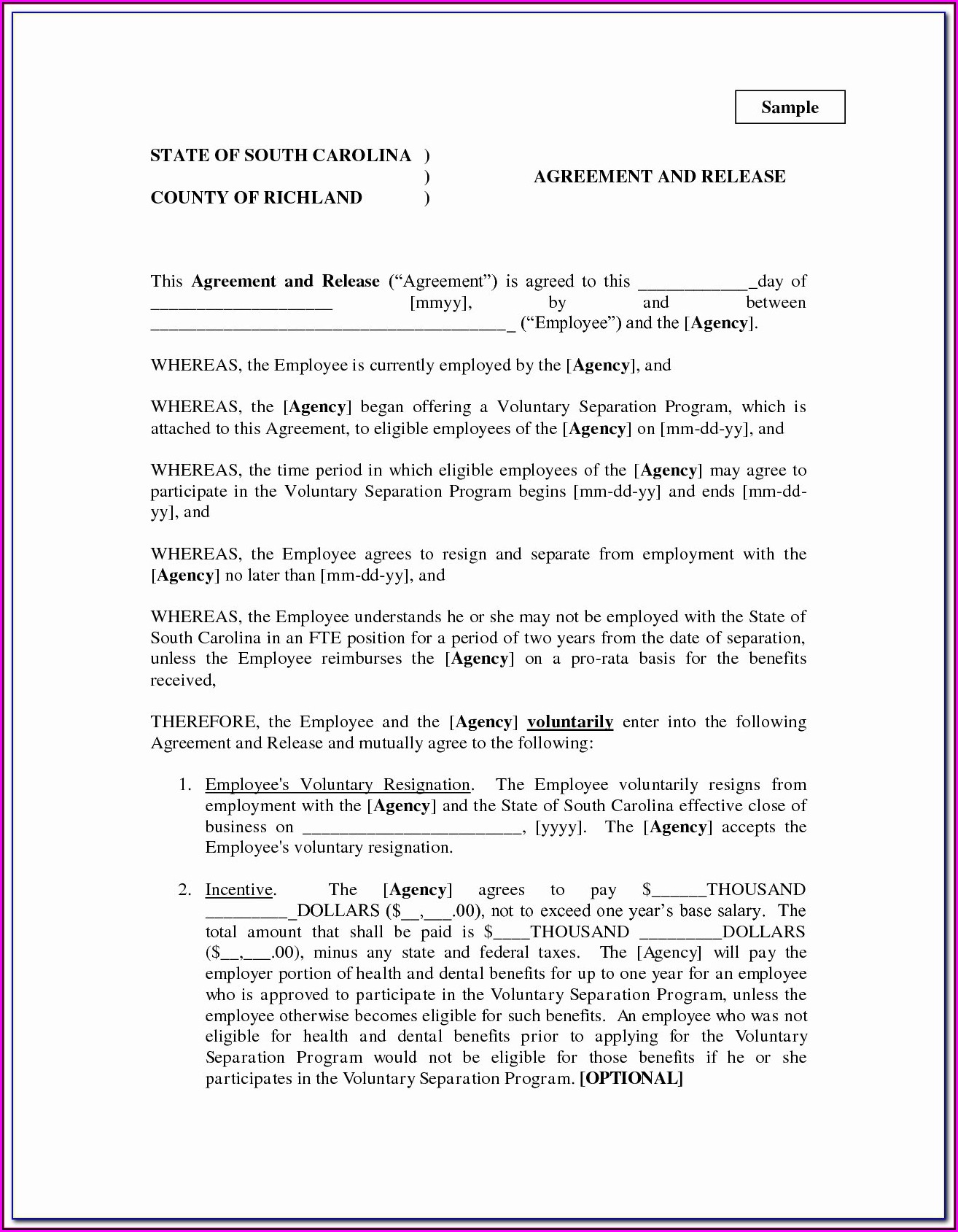 Free Marital Separation Agreement Form Nc
