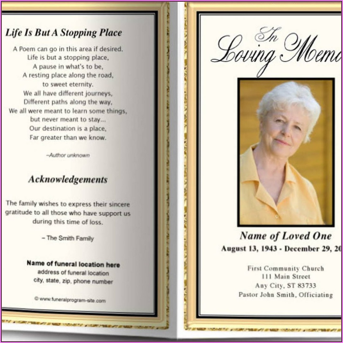 Free Memorial Service Program Template Publisher