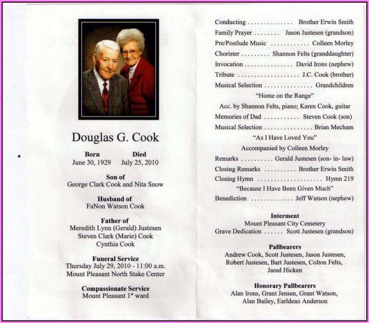 Free Memorial Service Program Template Word
