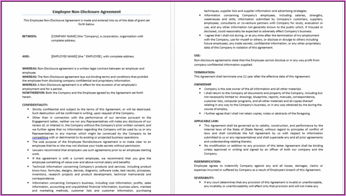 Free Non Disclosure Agreement Template Word Uk