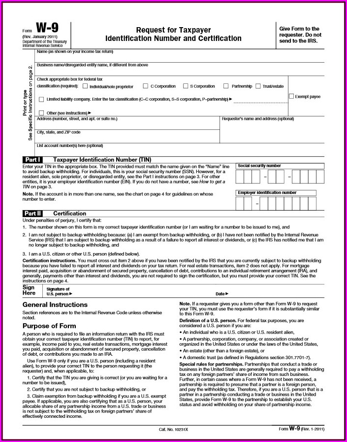 Free Online Fillable W 9 Form
