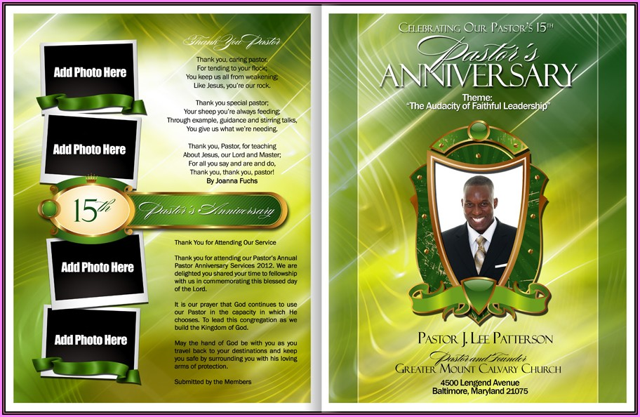 Free Pastor Anniversary Program Template