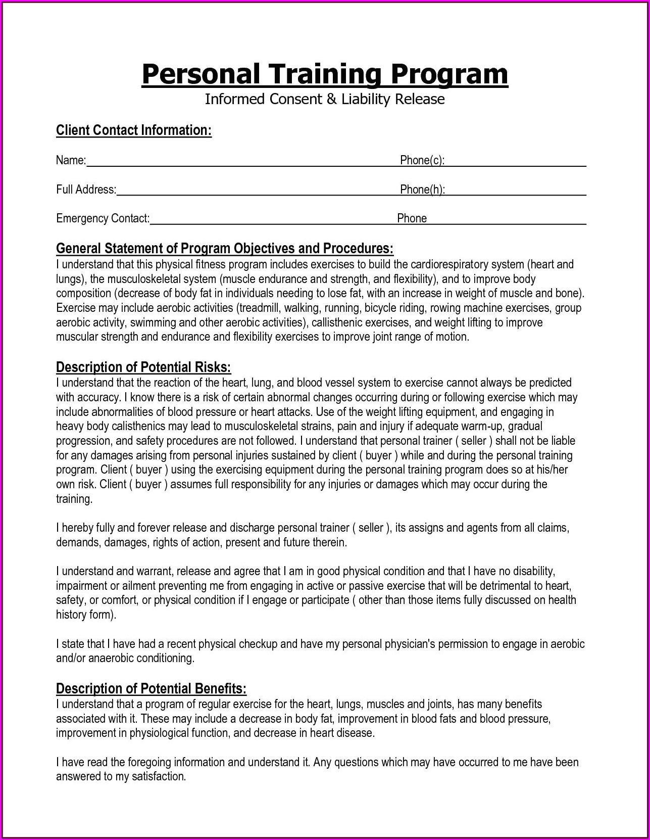 Free Personal Trainer Forms For Clients