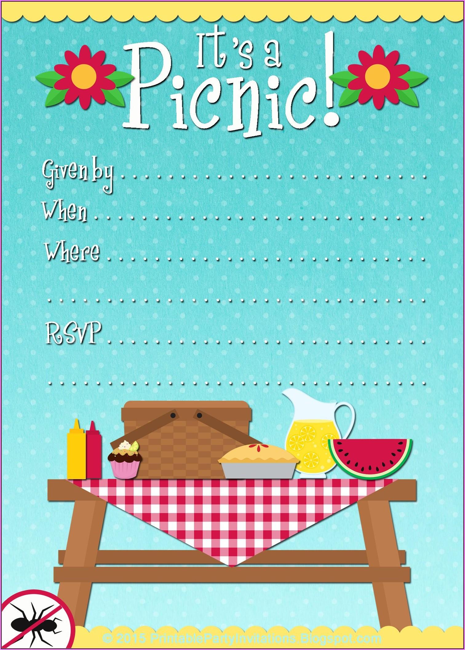 Free Picnic Invitation Template Word Template 1 Resume