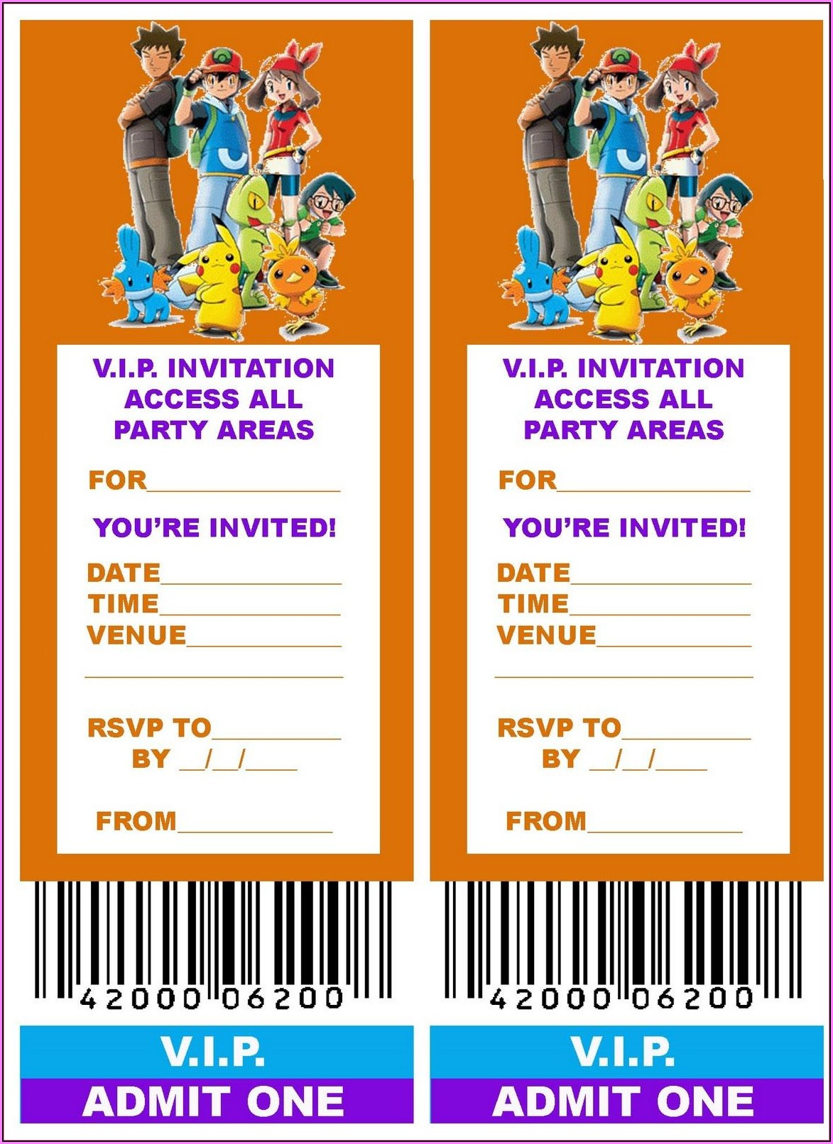 Free Pokemon Party Invitation Template