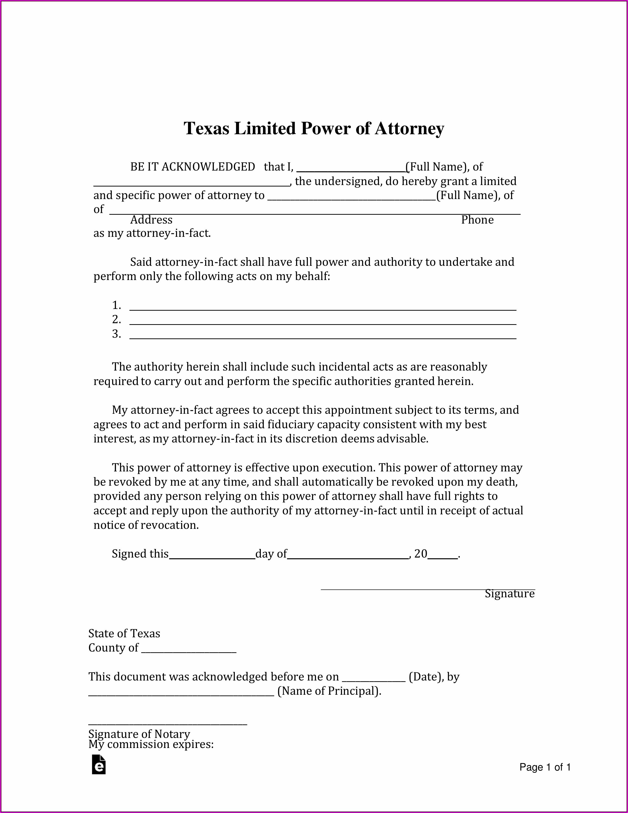 Free Power Of Attorney Form Texas Pdf