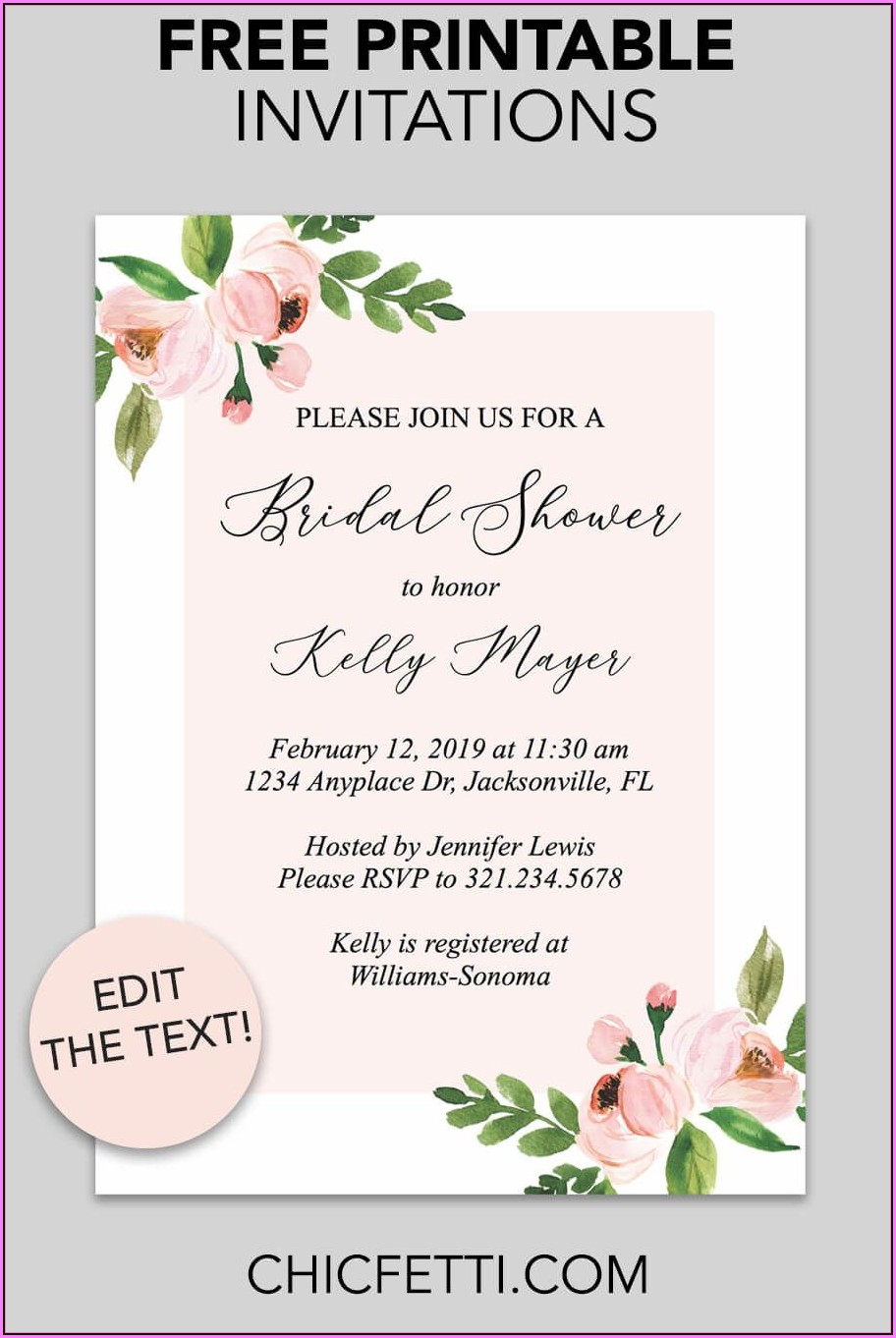 Free Printable Bridal Shower Invitations Templates