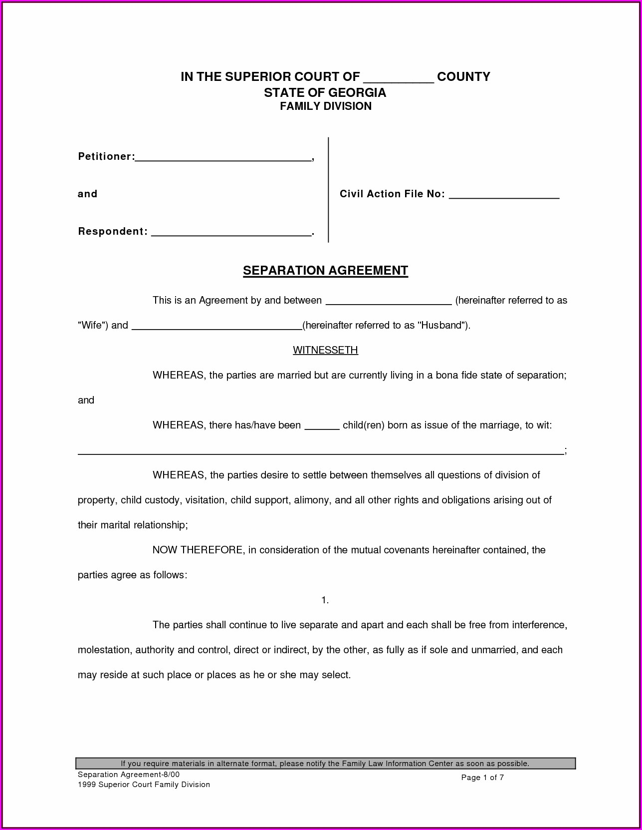 Free Printable Divorce Forms Georgia