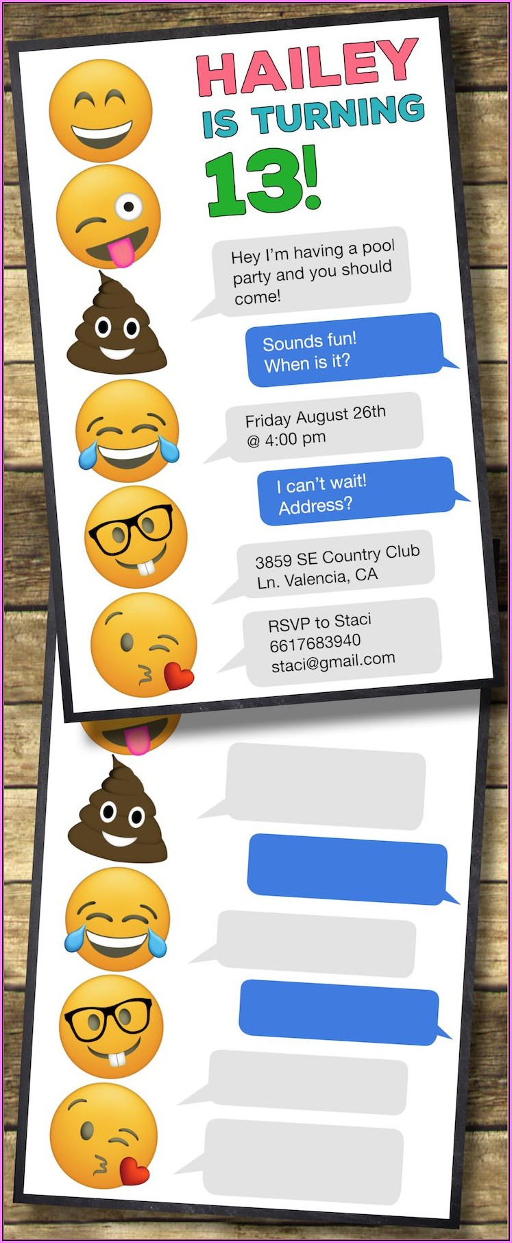 Free Printable Emoji Invitation Template