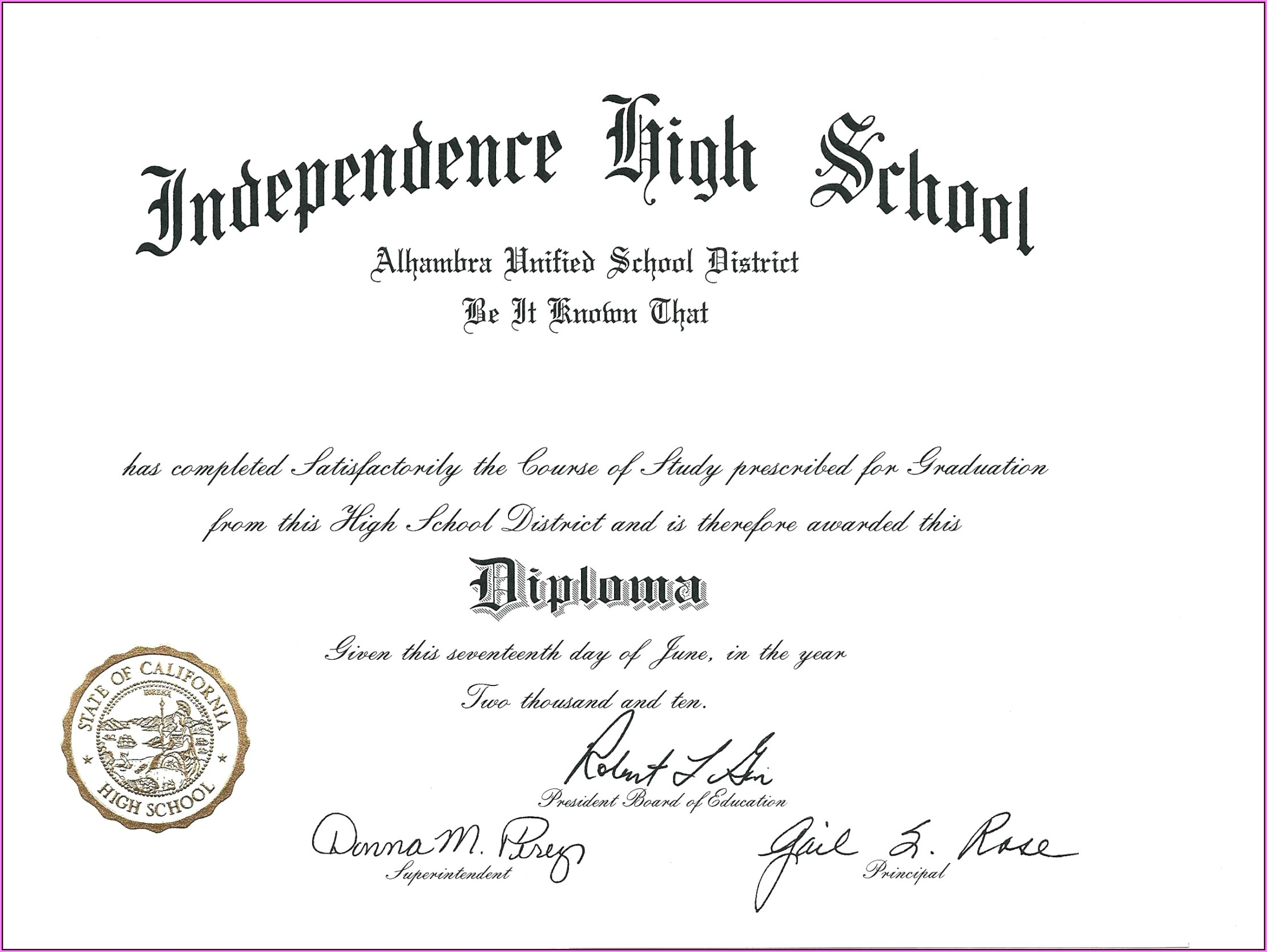 Free Printable Fake High School Diploma