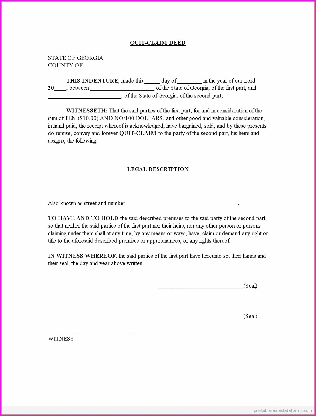 Free Printable Quit Claim Deed Form