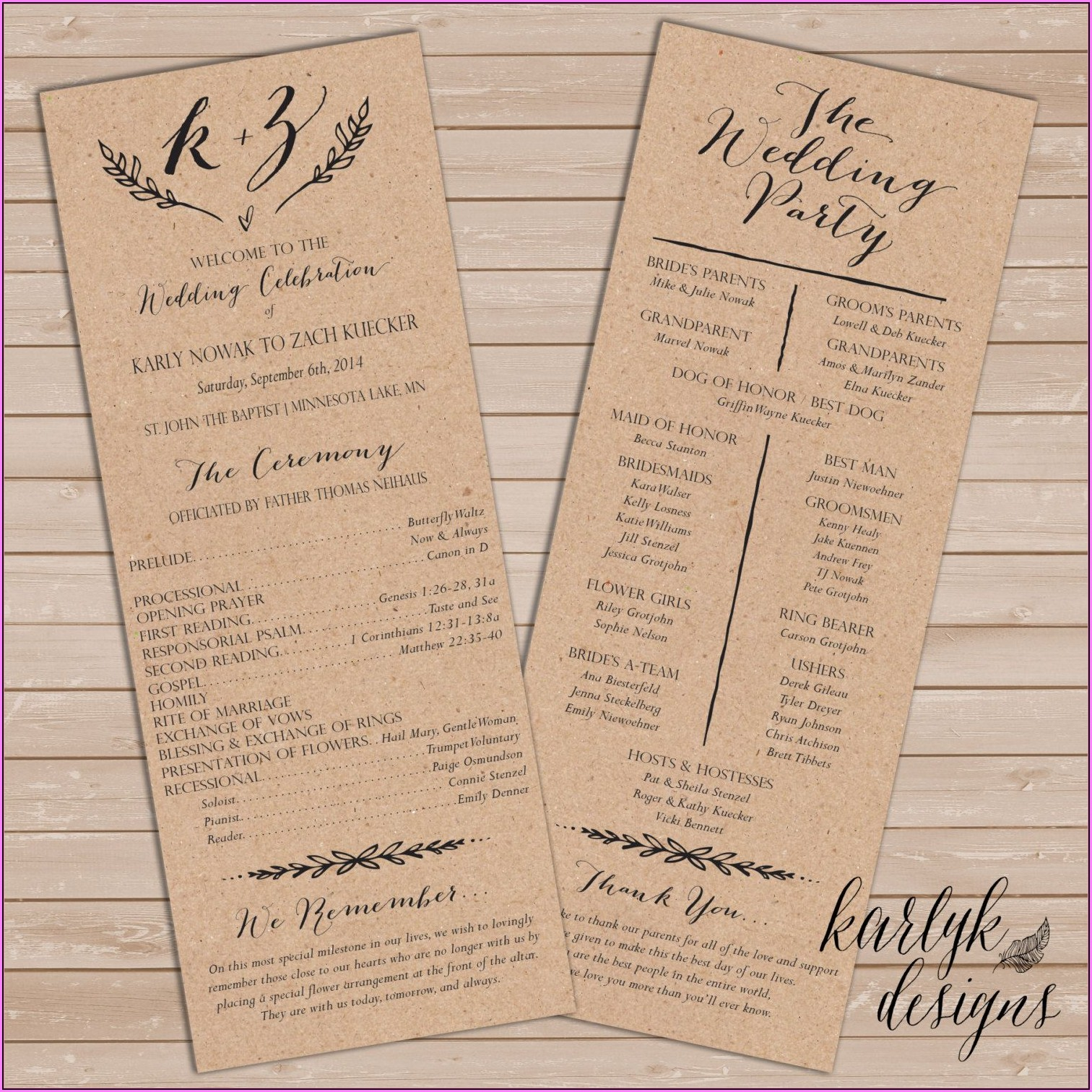 Free Printable Rustic Wedding Program Templates