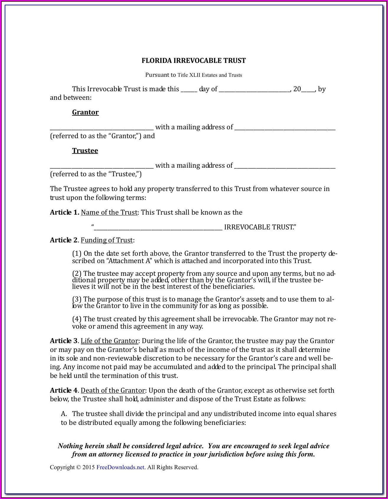 Free Printable Will And Trust Forms