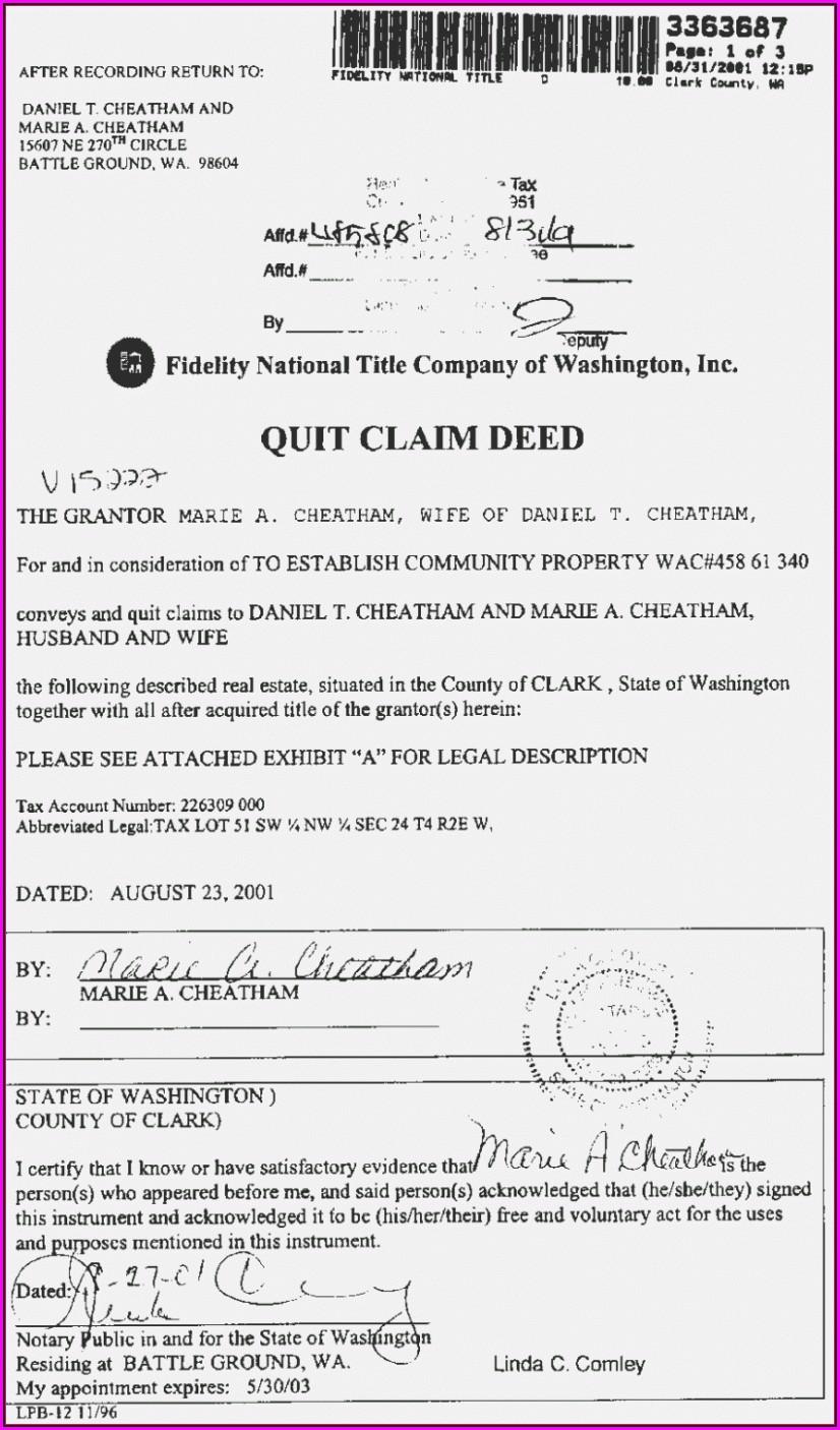 Free Quit Claim Deed Form Texas Pdf