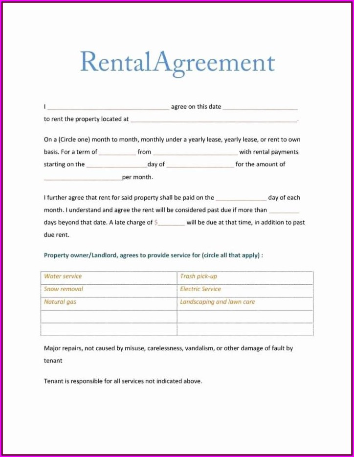 Free Rental Agreement Contract Template