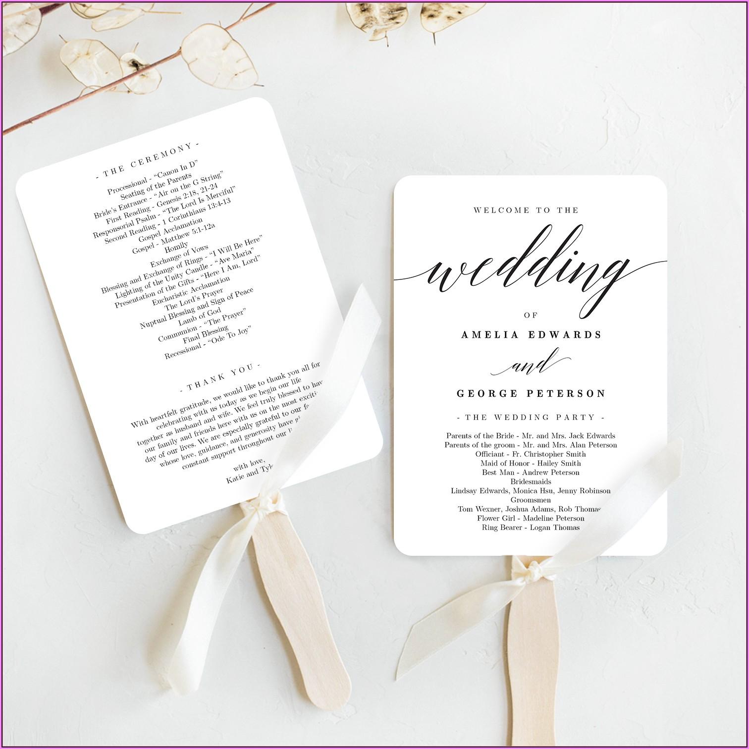 Free Rustic Wedding Program Fan Templates