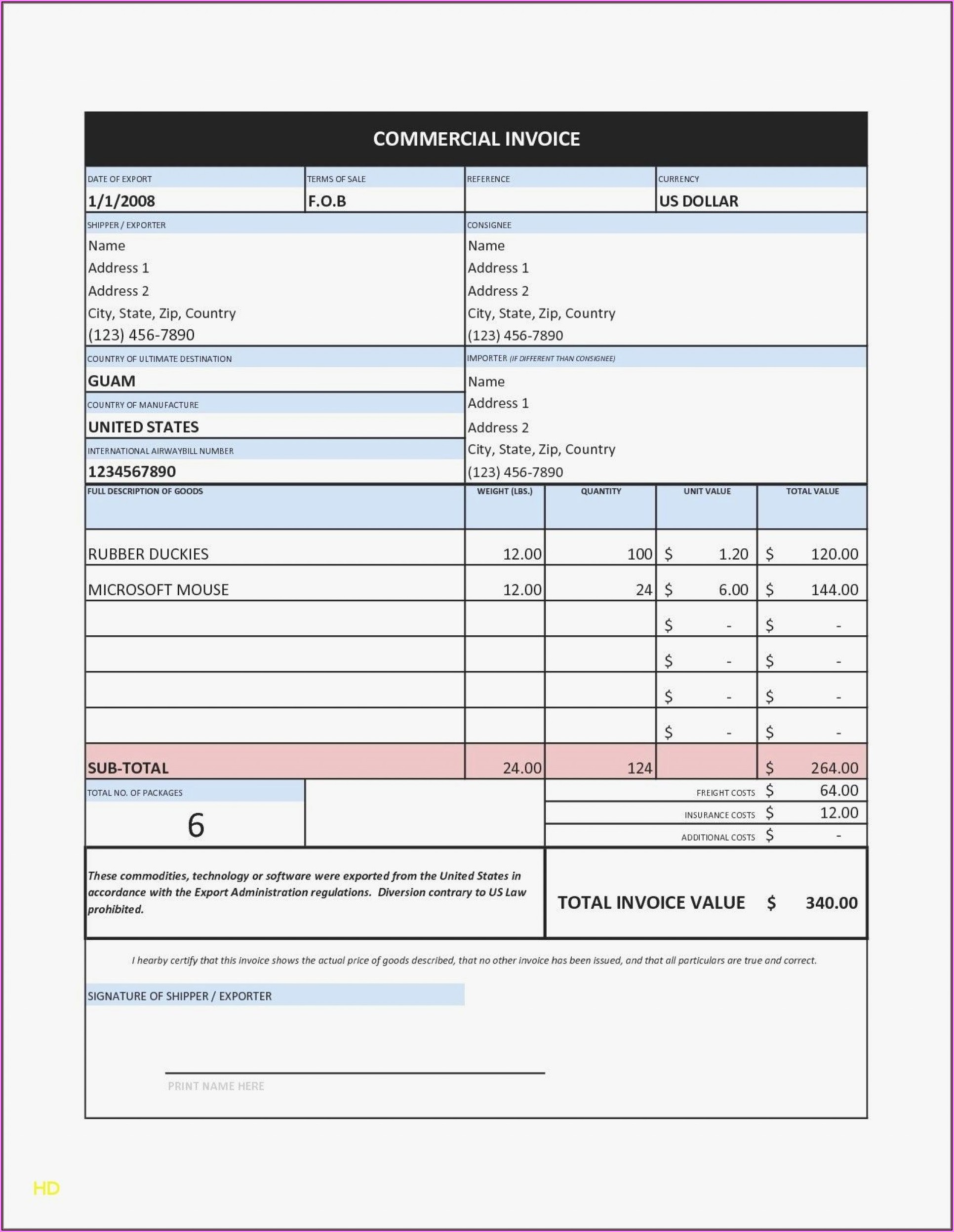 Free Service Invoice Template Open Office