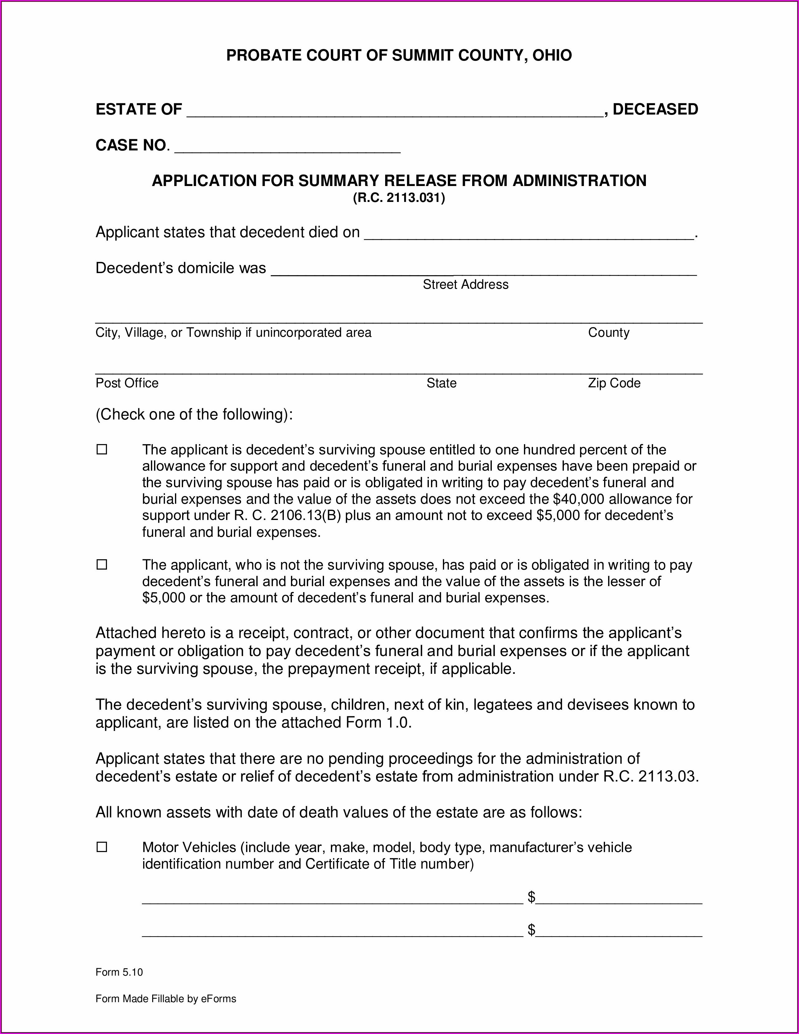 Free Small Estate Affidavit Form Ohio