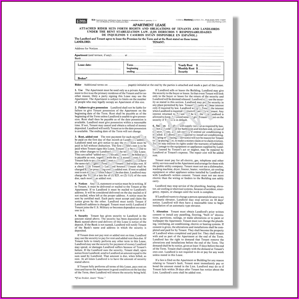 Free Standard Form Of Store Lease The Real Estate Board Of New York