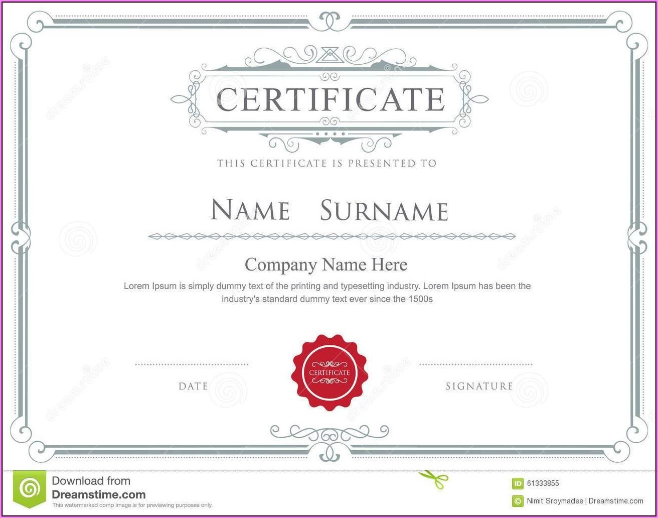 Free Stock Certificate Border Template