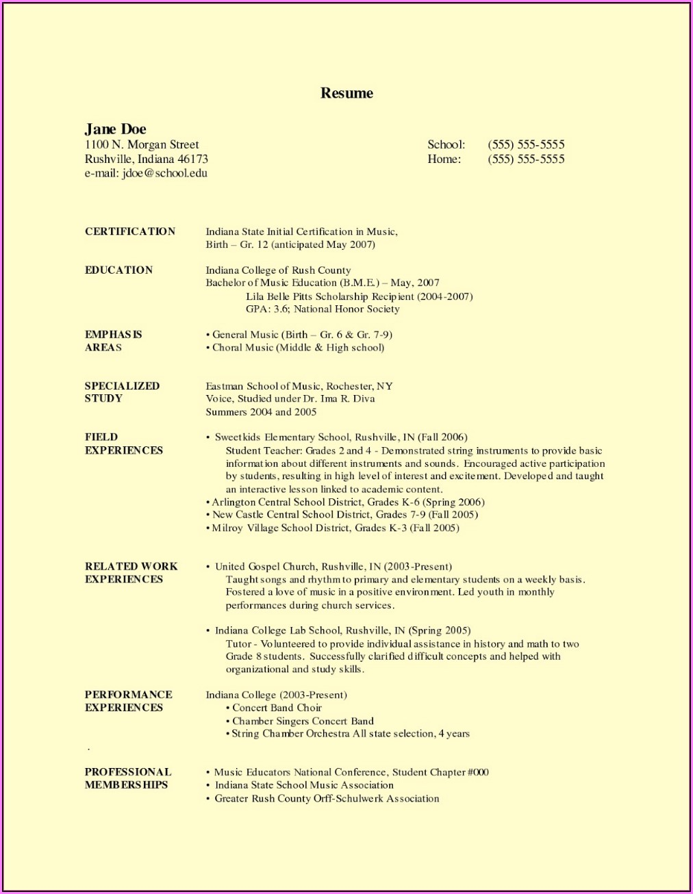 Free Teacher Resume Templates Word