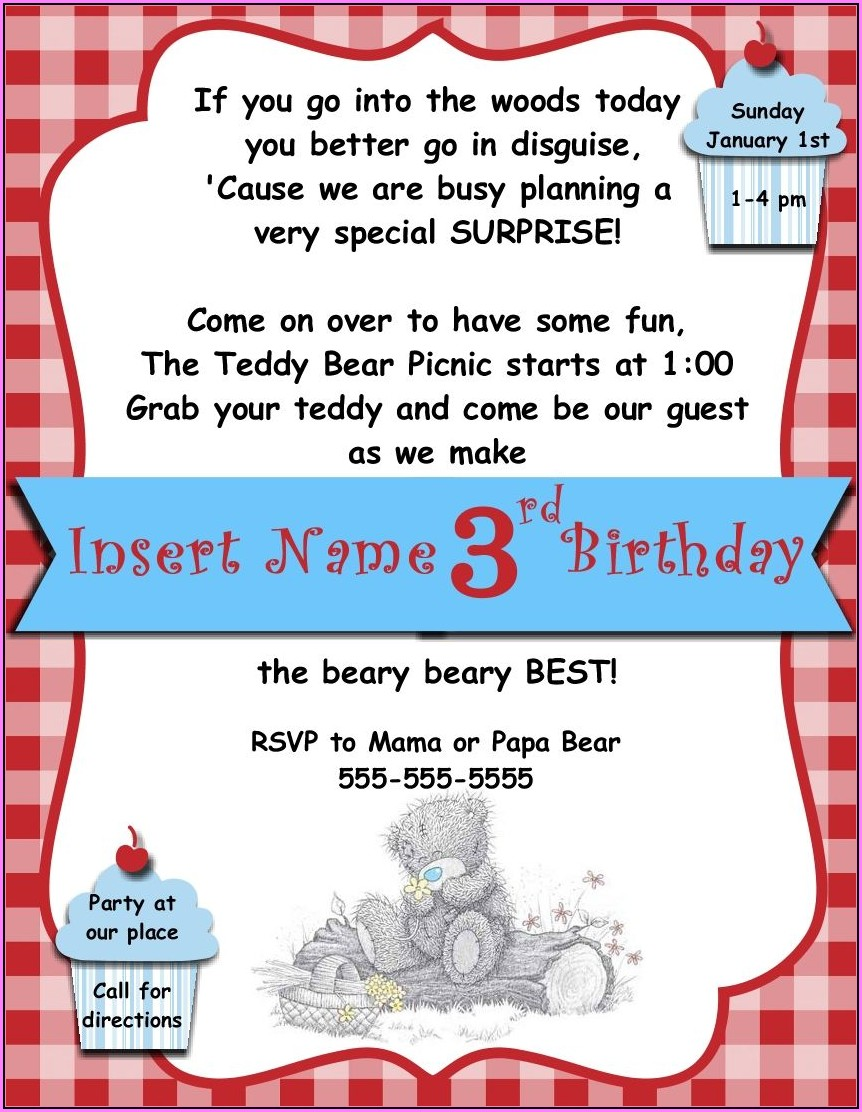Free Teddy Bear Picnic Invitations Template
