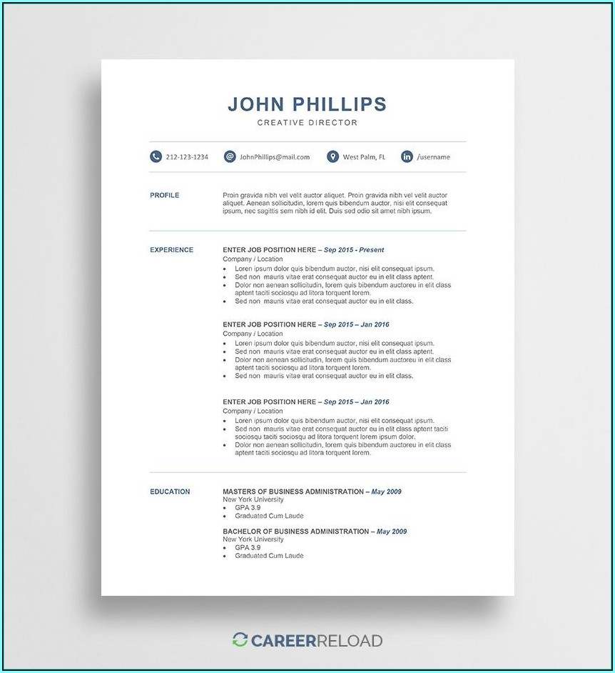 Free Template Resume Microsoft Word