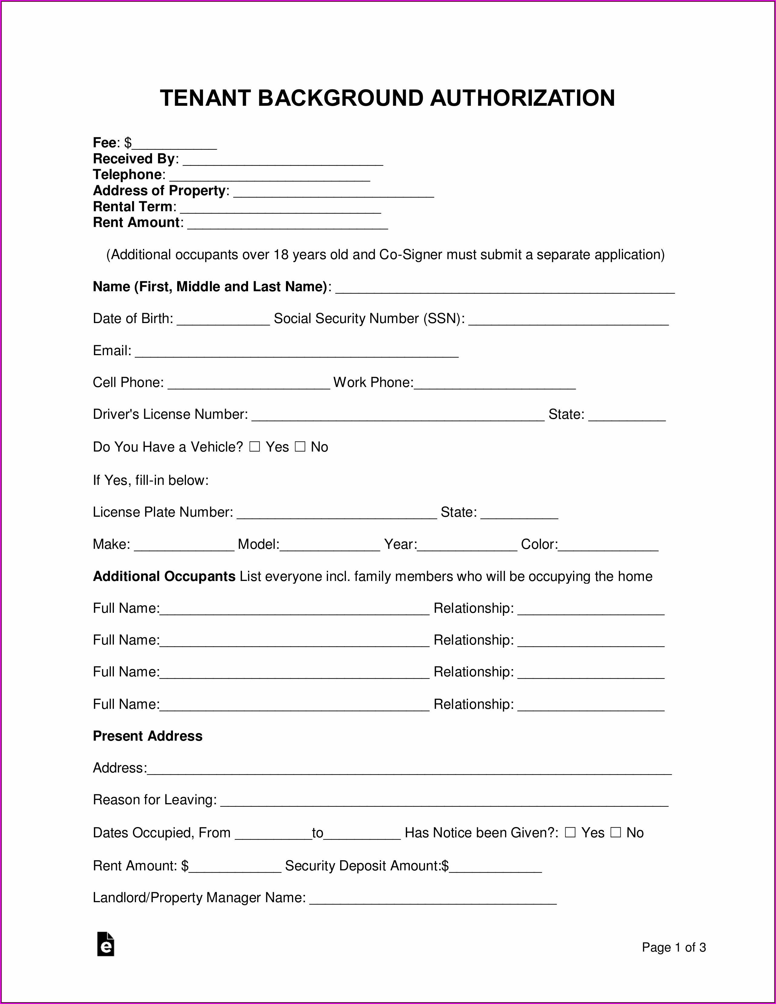 Free Tenant Background Check Form