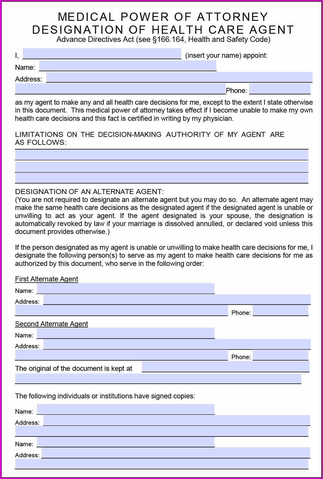 Free Texas Medical Power Of Attorney Form Pdf