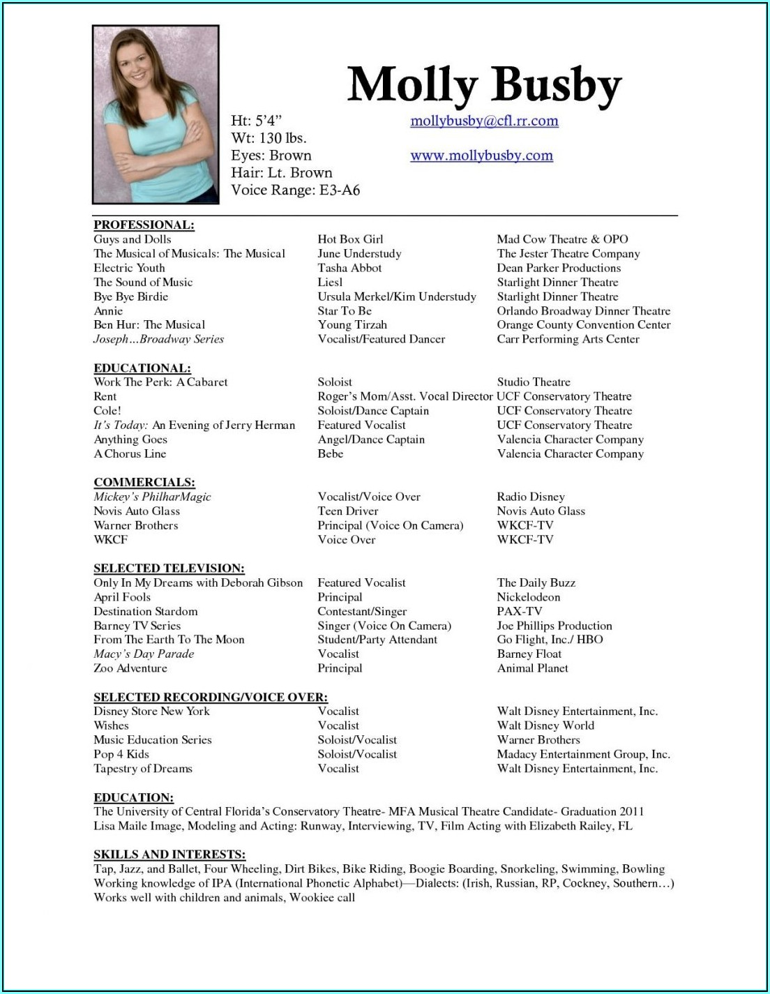 Free Theater Resume Template
