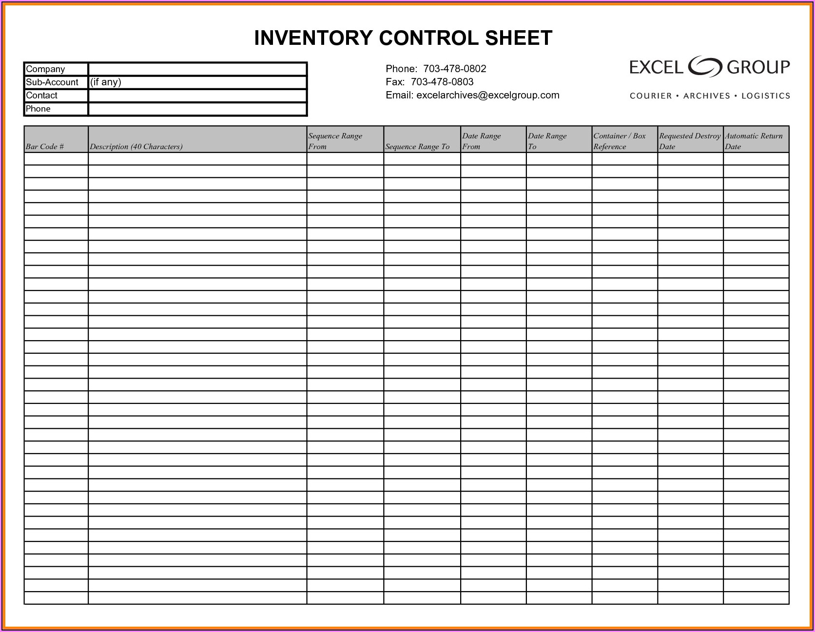 Free Tool Inventory Spreadsheet Template