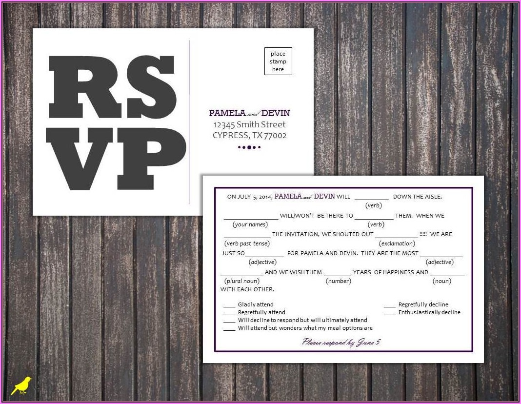 Free Wedding Rsvp Postcard Template