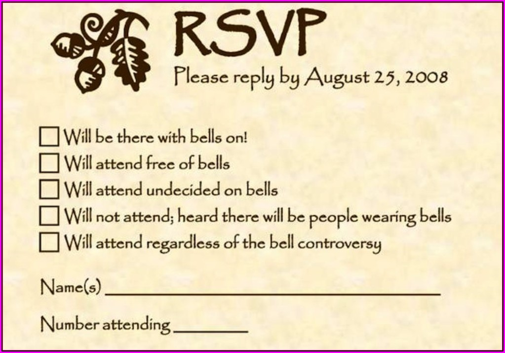 Full Form Rsvp In Wedding Cards In English